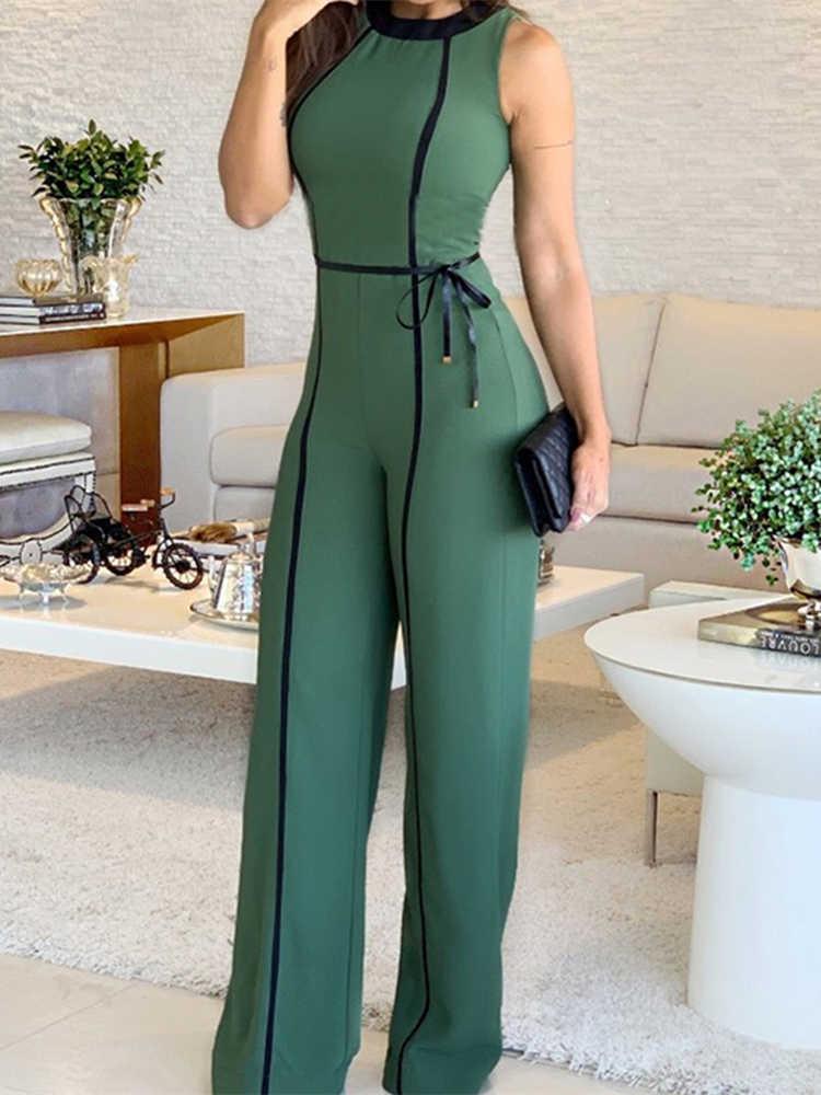 Комбинезон с широкими штанинами, лето 2019, круглый вырез, зеленый, без рукавов, комбинезон, для отдыха, элегантный, длинный, для офиса, леди, винтажный комбинезон