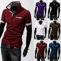 2016 Colores de Contraste, Hombres, Hombre Transpirable Sólido Delgado de Moda La Promoción de Venta Caliente Estilo de Europa de Los Hombres de Manga Corta Polo camisas