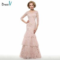 Dressv elegant v neck 3/4 sleeves trumpet mother of bride dress appliques floor length zipper up long mother evening gown custom
