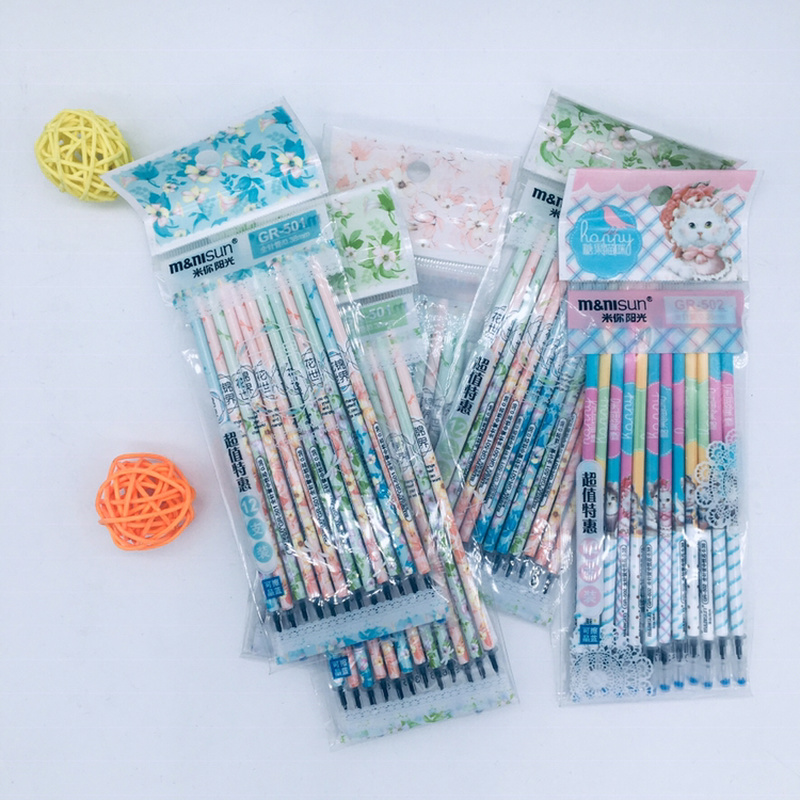 12pcs/set Gel Pens Refills Cute Stationery Colored Pencils 0.38mm Gel Pen Special Refill Cute Pens Kawaii School Supplies