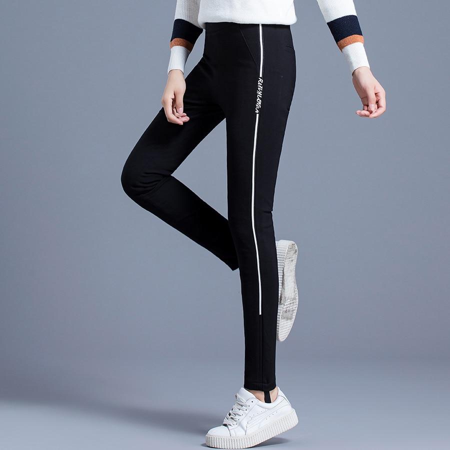 Haute Élastique Taille Canard 1828 Chaud Formelle Travail Noir Pantalon Femmes D'hiver Maigre De Duvet Femelle BqnBYR