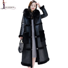 Winter Wool Jacket 2019 Women Temperament Leather Coat Medium long Fashion Elegant Overcoat Thickening Warm Woolen Jacket DD0832(China)