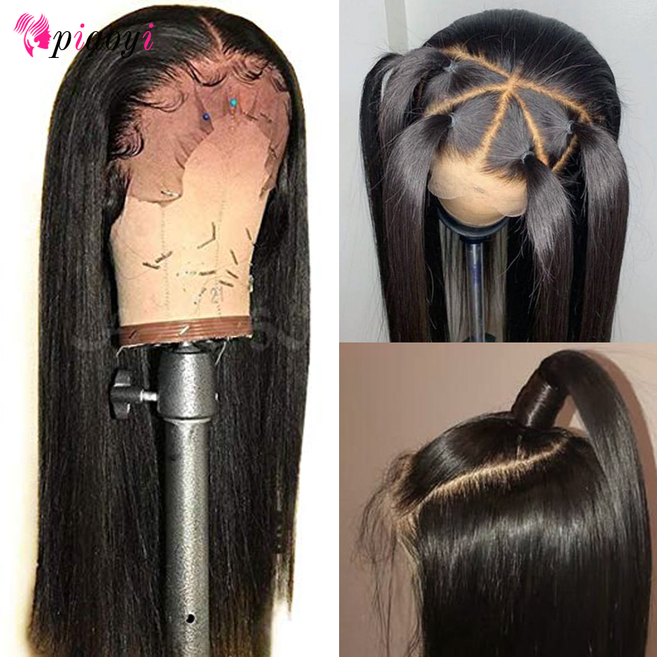 Piaoyi 360 Lace Frontal Wig With Baby Hair Remy Brazilian Straight Lace Front Human Hair Wigs
