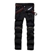 Men S Black Jeans Skinny Ripped Stretch Slim Pants Fashion Denim Trousers 30 36 Free Shipping