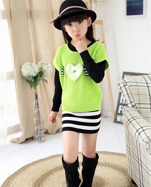 126841c0cb 2015 Baby Girls Children Sweater Dress Knitwear Two Piece Dress Cotton Clothes  Cute Kids Sheath Mini Pink Spring Autumn Lolita