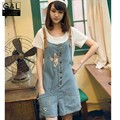 2016 New  Summer Fashion Women One Size Washed Denim Jeans Overall Pants Hole Short Romper Loose Jumpsuit Casual Blue