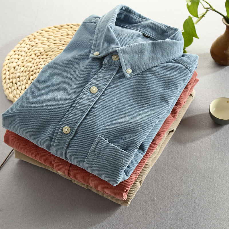Men 2019 Spring And Autumn Fashion Brand Japan Style Vintage Slim Fit Corduroy Shirt Male Casual Blue Red Shirt Cloth 4