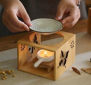 Image 3 - במבוק עץ חלול ניחוח מנורת שמן תנור ארומה מבער פמוט פמוט אגרטל אמנות רומנטיות מתנות עיצוב הבית