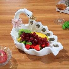 ceramic white swan dried fruit Candy Storage dish Dessert Snack Salad plate home decor wedding decoration handicraft figurine