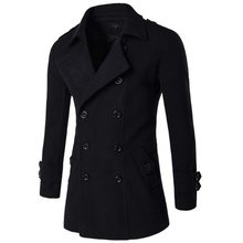 Men British Style Double Breasted Trench top Coat Mens Long