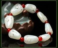 Изысканный Природный Хотан Белый Камень Браслеты обувь для мужчин и женщин использовать полые браслеты/1