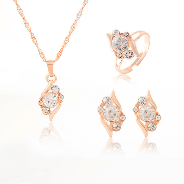 Colorful Crystal CZ Necklace Earring Ring Jewelry Set Elegant Horse Eye Pendant Necklace Anniversary Gold Color Jewelry Sets 2