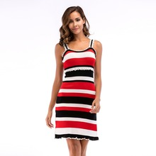 YYFS Women Summer Stripe Bodycon Dress Vestidos Sexy Ladies Mini  Plain Jersey Stretch Basic