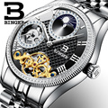 Moon Phase Automatic Wristwatches BINGER Men Mechanical Watch Tourbillon Clock  relogio masculino Luxury Rhinestones Full Steel