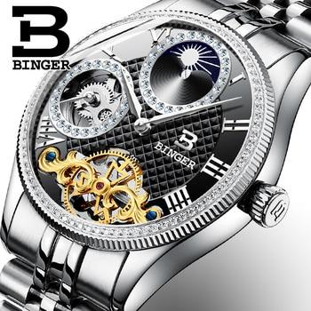 Moon Phase Automatic Wristwatches BINGER Men Mechanical Watch Tourbillon Clock  relogio masculino Luxury Rhinestones Full Steel