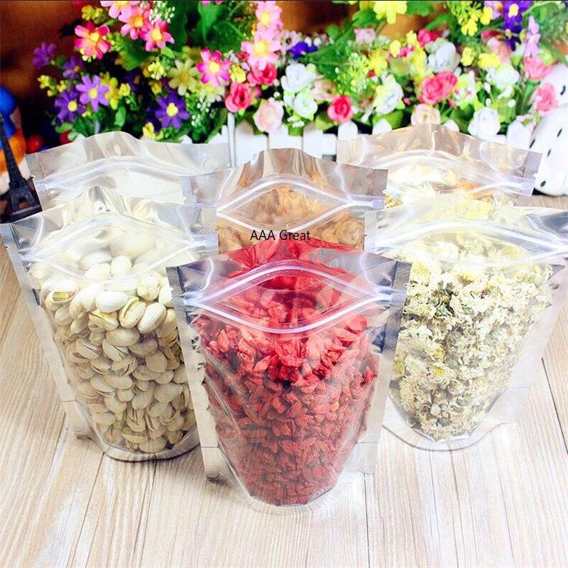 100 pçs/lote folha de alimentação superior zip sacos de bloqueio bolsa de alimentos mylar sacos de folha de alumínio sacos de chá sacos de alimentos storge saco de alimentos ficar up frente clara nozes