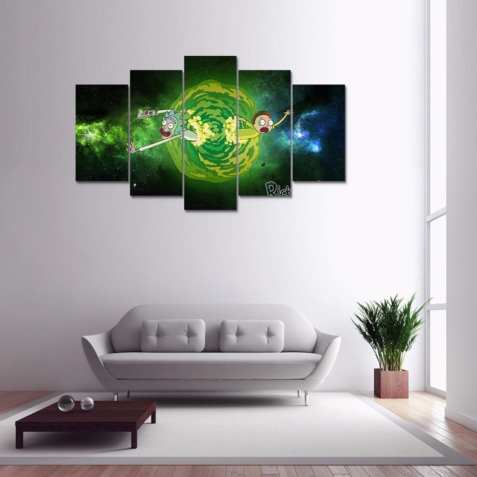 Modern Framework Wall Art Poster Home 5 Panel Rick Morty