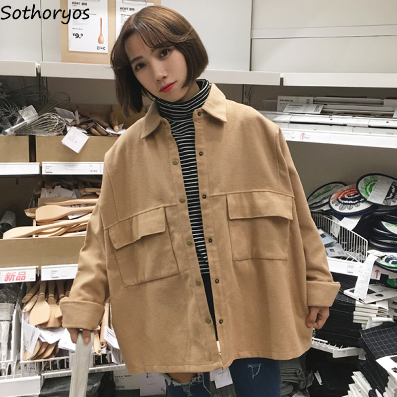 Jackets Women Solid Simple All-match Turn-  down   Collar Leisure Korean Jacket Womens Ulzzang BF Loose Students Basic Trendy   Coat
