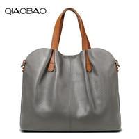 QIAOBAO 2019 New Genuine Leather Handbag Fashion First Layer Cowhide Totes Large Bag Shoulder Messenger Composite Bag