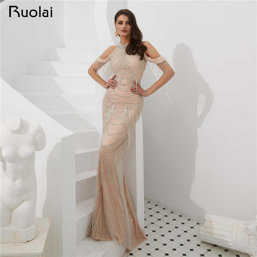 Elegant Evening Dress Long Off the Shoulder Tassel Beaded Evening Gown Luxury Prom Party Gown Robe de Soiree SN11