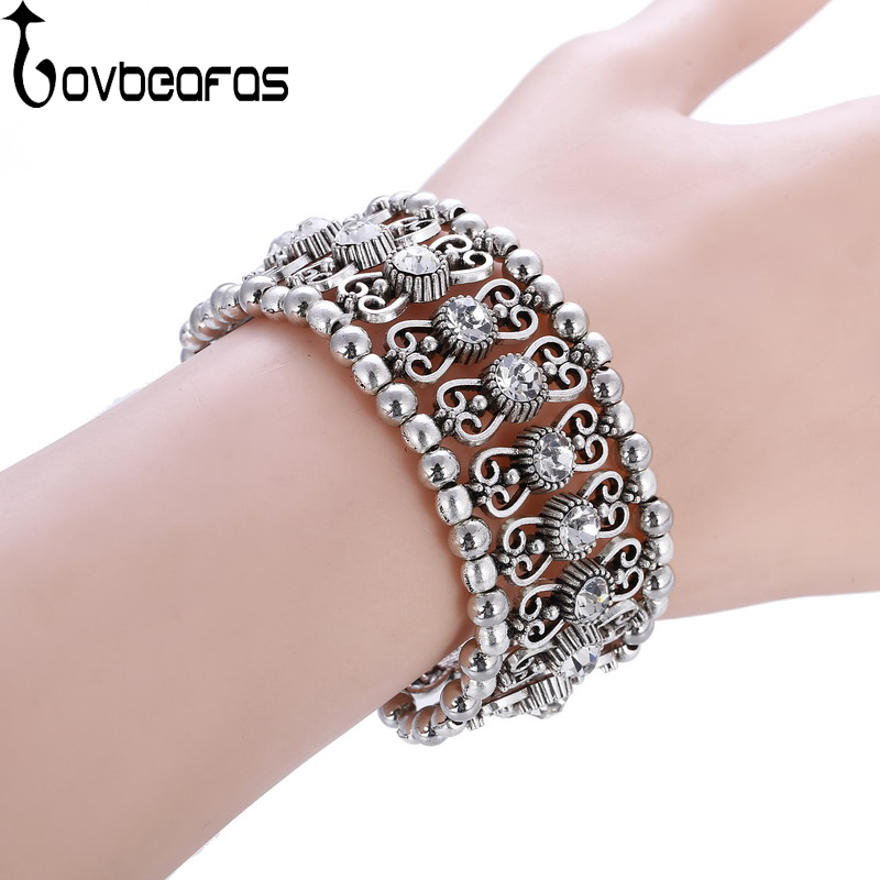 LOVBEAFAS Vintage Boho Adjustable Bracelets Bangles For Women 2018 Fashion Carving Multi Layer Crystal Rhinestone Charm Bracelet