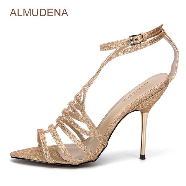 3906c91b ALMUDENA Light Gold Bling Bling Sequined High Heel Sandals Sexy Gold Heels  Criss Cross Strappy Dress Pumps Paillette Metal Heels