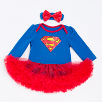 YK & Liebevolle Superman Blau Mädchen Strampler Kleid Langarm Baumwolle Voile Kleid Diamant Drucken Newborn Kleidung Rot Netz Günstige kleidung