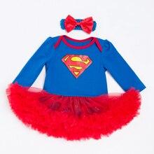 Superman Blue Girls Romper Dress Long Sleeve Cotton Voile Dress Diamond Print Newborn Clothing Red Mesh Cheap Girl Baby Clothes недорого