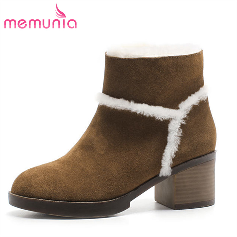 MEMUNIA 2018 new fashion genuine leather boots top quality ankle boots round toe winter snow boots thick heels shoes women zorssar 2018 new fashion women shoes round toe thick heel ankle snow boots patent leather high heels womens boots winter