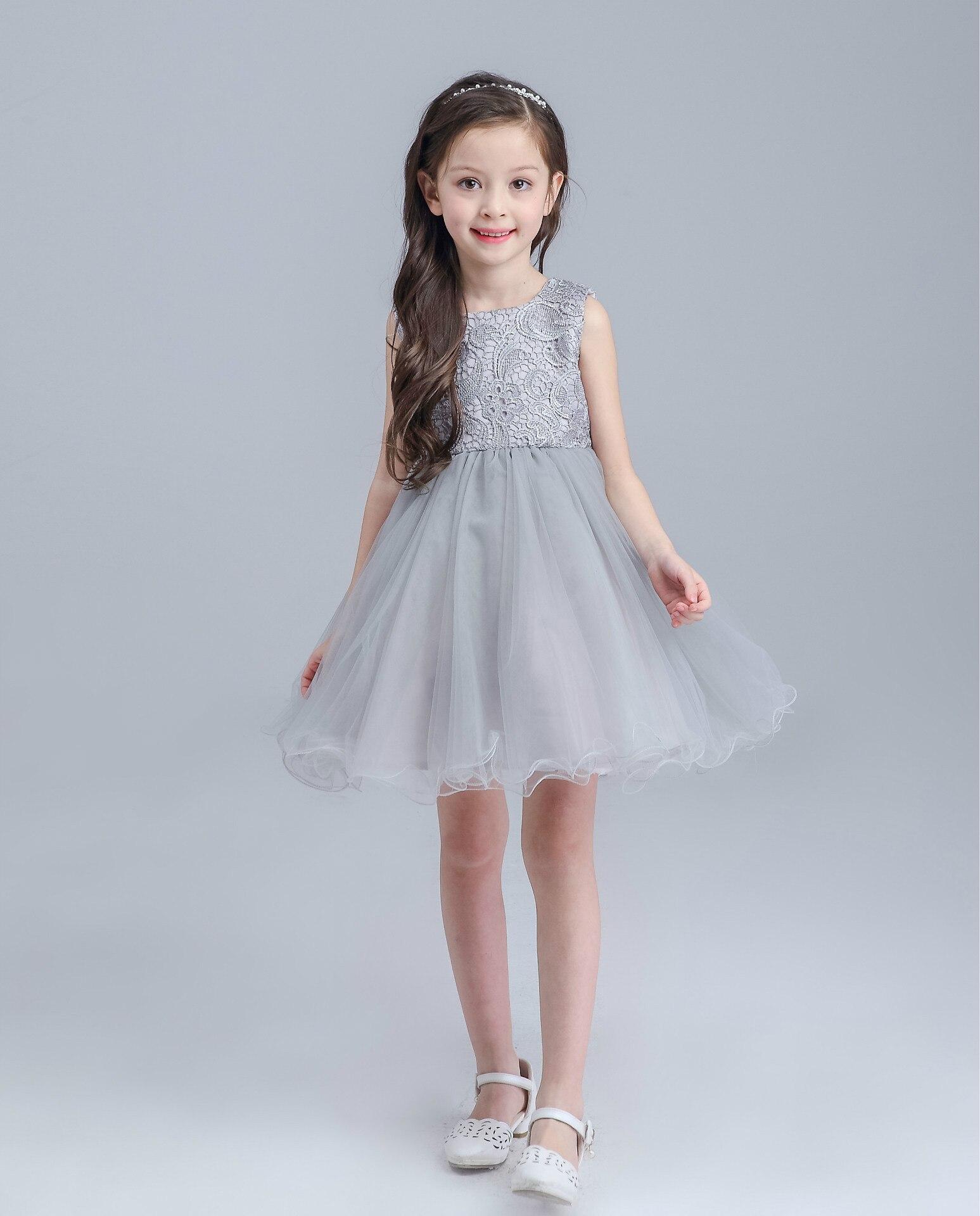 High end Grey Baby Girls Dress For Wedding Princess Big Bow Western ... e2a5f0f9b206