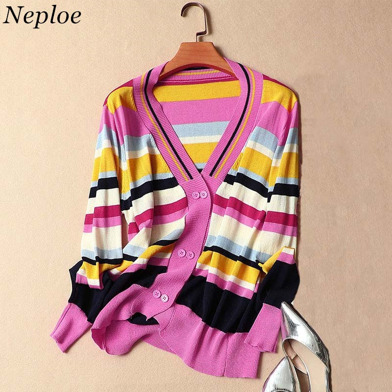 Neploe Ice Silk Sweater Coat Contrast Color Patchwork Knitted Cardigan Long-sleeve V-neck Knitwear Thin Sweaters Jumper 35982