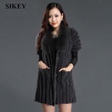 real Rabbit Fur vest  coat  woman winter clothing long  design kiintted over coat