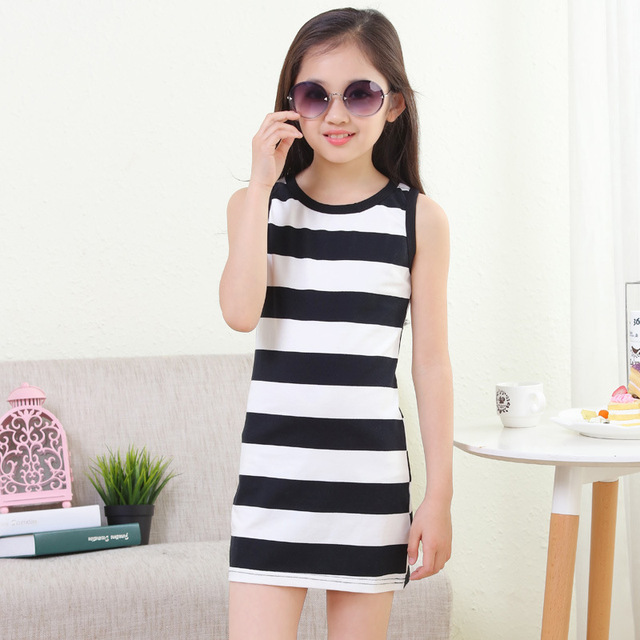 bd8ed5d6b714 2019 new children s striped girls dress summer Korean Slim small ...