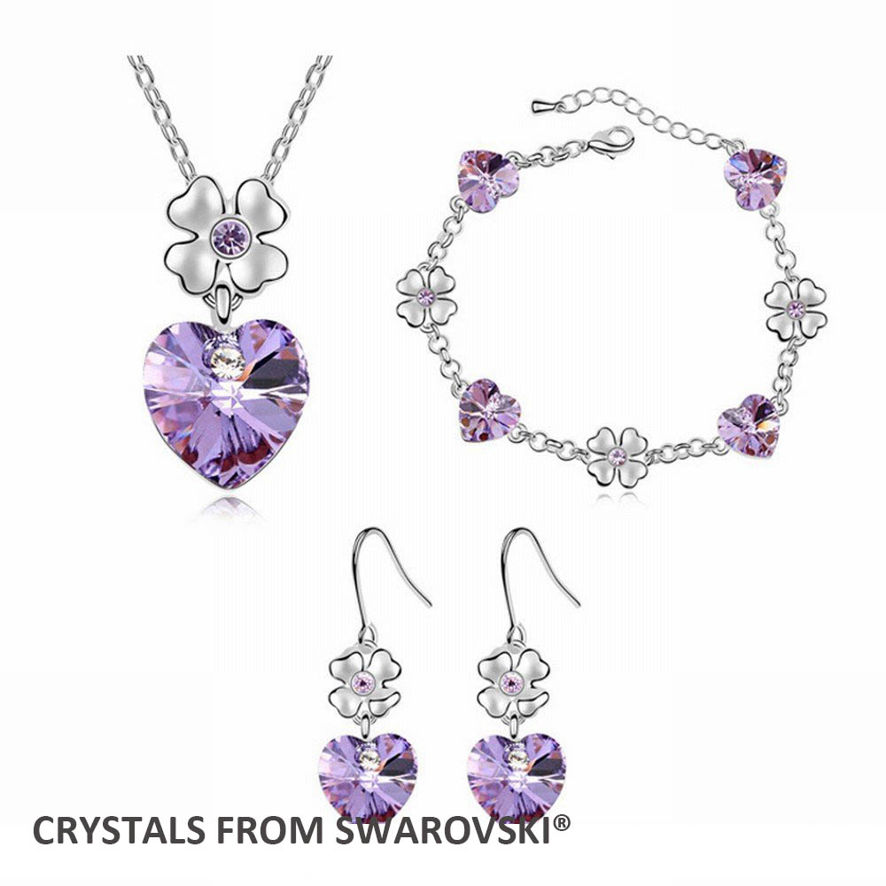 2015 hot sale christmas gift! heart shaped necklace earrings bracelet jewelry set Crystals from Swarovski Christmas Gift