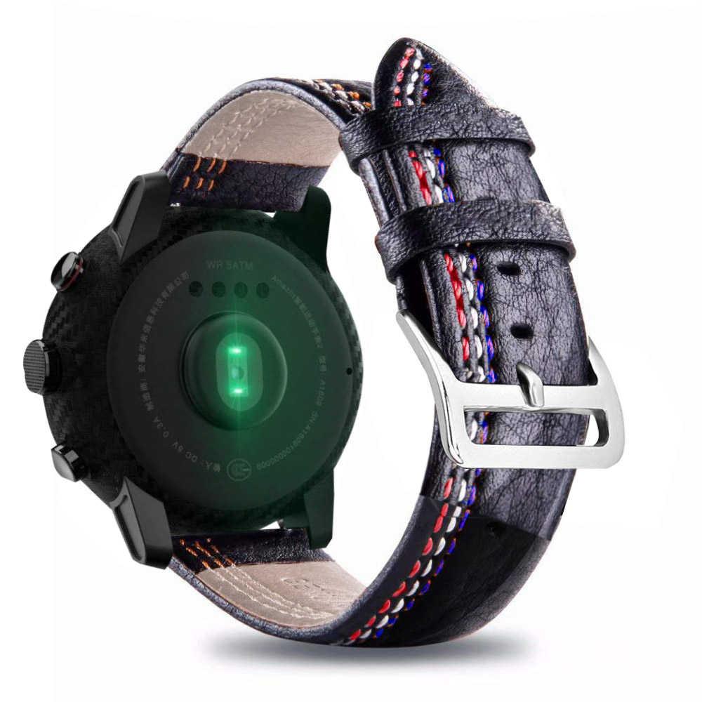 أسود جلد 22 مللي متر حزام ل سامسونج جير S3 الحدود سامسونج الكلاسيكية حزام (Band) ساعة ل شاومي huami amazfit بيب بيس لايت حزام