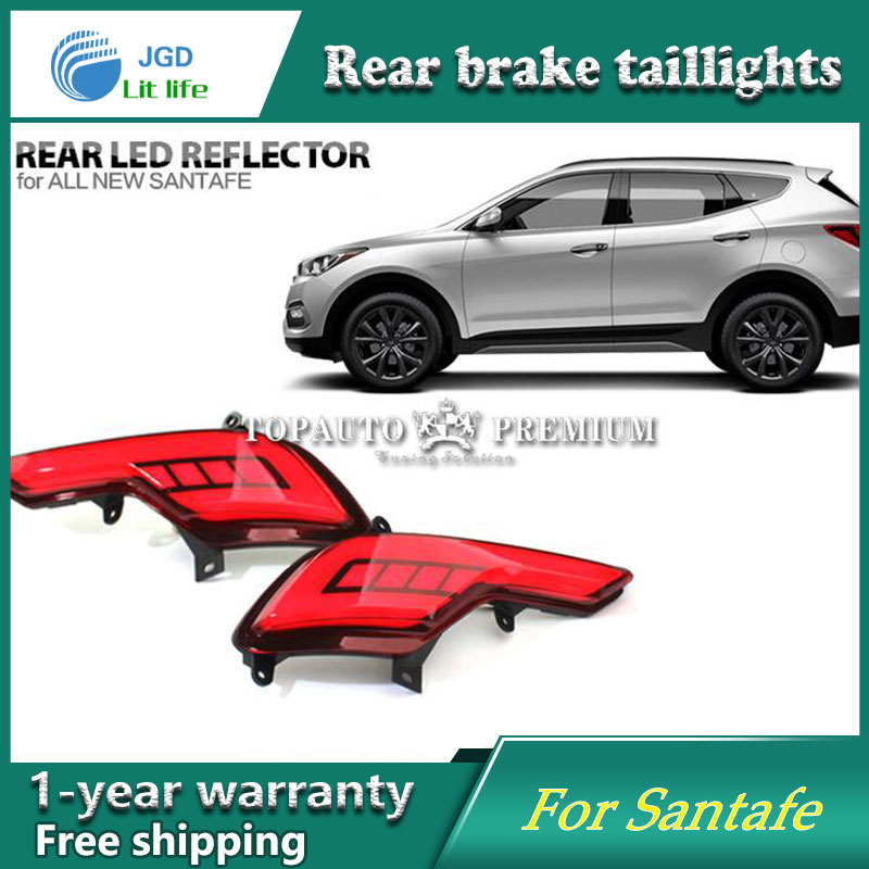 Car Styling LED Brake Lights Warning Lights case for Hyundai Santafe Santa fe IX45 2016 2017 Tail Brake Stop DRL Fog Light akd car styling for hyundai santa fe led tail lights 2007 2013 new santa tail light rear lamp drl brake park signal