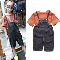 Children's Casual Sets Cotton T shirt +Denim Shorts Jeans Overalls 2 Pcs Kids Summer Clothes Suits for Teenage 3 12 Years