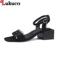 2018 MATURE Lukuco Women Sandals Square Heel CN Plus Size 38 39 40 41 42 43
