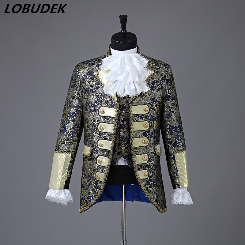 Christmas Court Men Suit European Style Prom Wedding Groomsman Formal dresses Singer Chorus Drama Outfit Studio