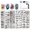 6 Pcs BORN PRETTY Floral Template Rectangle Various Flower Pattern Nail Art Stamp Image Plate With Silicone Stamping Mat