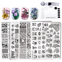 6 Stks GEBOREN PRETTY Bloemen Template Rechthoek Diverse Bloem Patroon Nail Art Stempel Afbeelding Plaat Met Siliconen Stempelen Mat