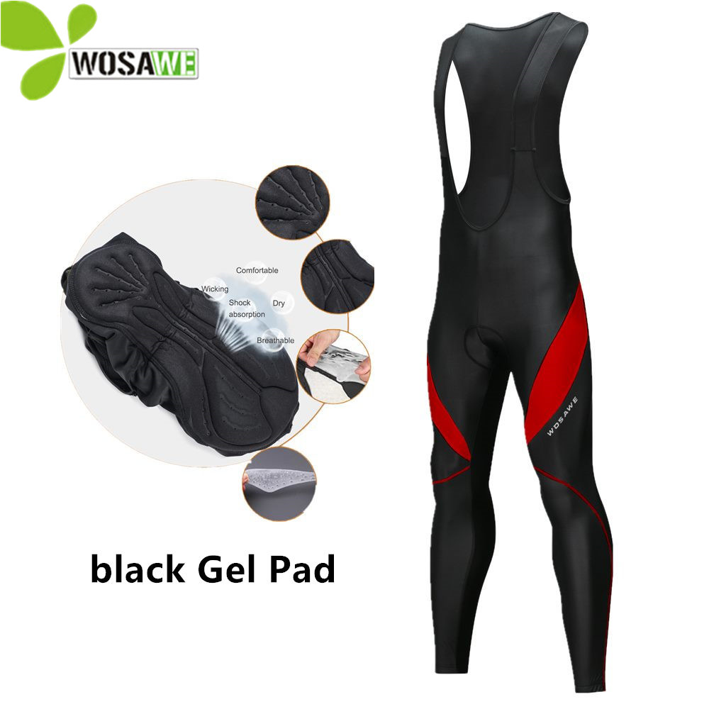WOSAWE Gel Pad Thermal Cycling Pants Men Bib Clothes Bicycle 3D Silicone Cushion Reflective MTB Bike Tights Clothing Size M-3XL