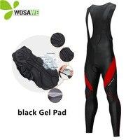 WOSAWE Gel Pad Thermal Cycling Pants Men Bib Clothes Bicycle 3D Silicone Cushion Reflective MTB Bike Tights Clothing Size M 3XL