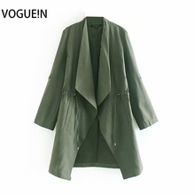 VOGUEIN New Womens Fashion Autumn Army Green Long Sleeve Cardigan Coat Trench Wh