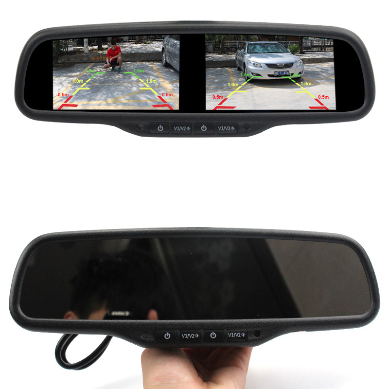 Sinairyu 4.3 дюймов двойной HD-Дисплей автомобиль монитор заднего вида внутреннее зеркало монитор для камеры заднего вида 4 ch видео-входной сигнал
