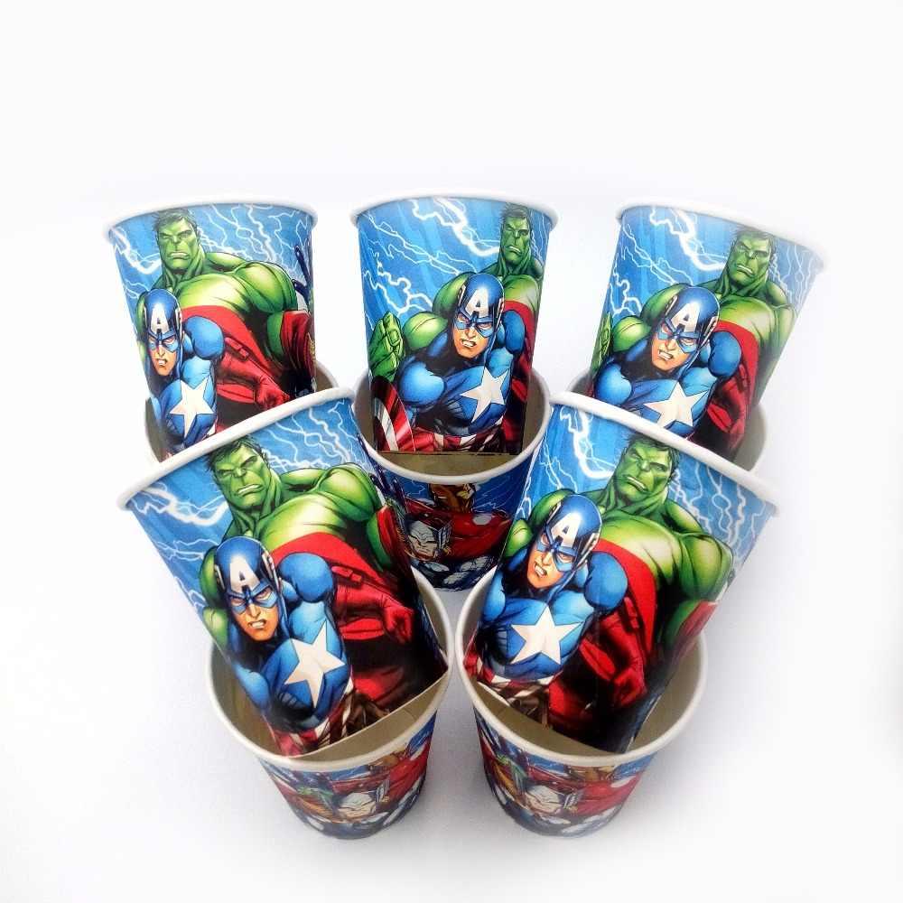 10 pçs/lote Vingadores Hulk Cartão Copo Dos Desenhos Animados Tema da Decoração da Fonte Do Partido Festival Xmas da festa de Aniversário Para Crianças Azuis