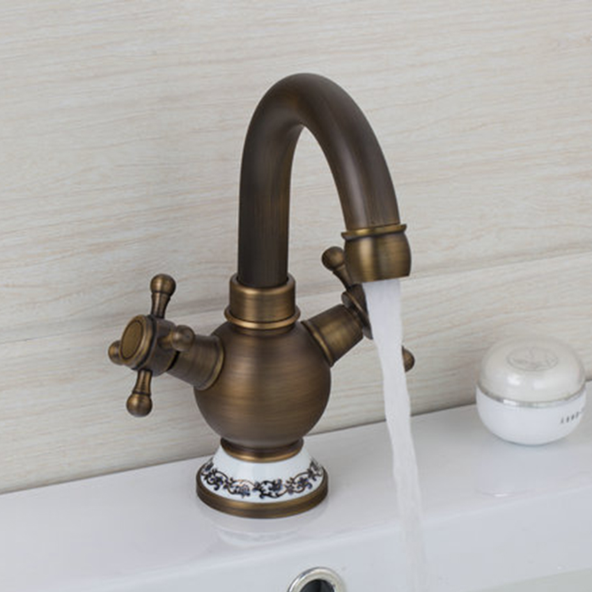 YANKSMART Bathroom Deck Mounted Washbasin Faucet Single Handle Antique Brass Bathroom Basin Torneira Faucet Mixers & Taps
