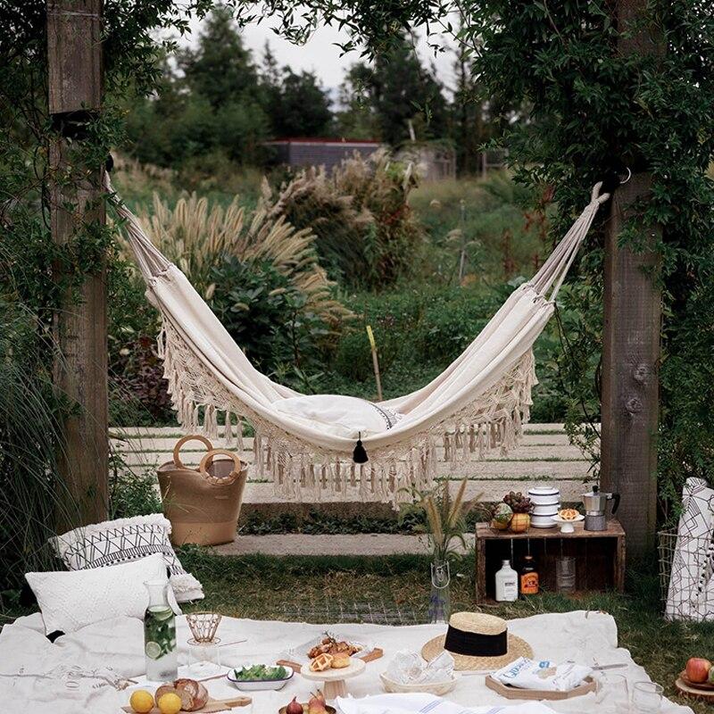 Nordic Hammock Hanging Swing Chair Columpio Jardin Two Person Hangmat Travel Survival Hunting Sleeping Garden Outdoor Furniture