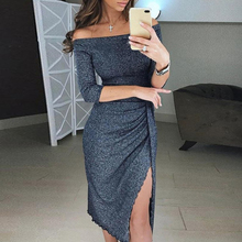 цена на Off Shoulder Gold Solid Fall Club Night Party Dress Women Summer Office Half Sleeves Split Dress Elegant Knee Length Black Dress