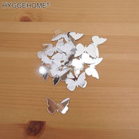 (100 pieces/lot) 3*2cm Butterfly Acrylic Mirror Wall Sticker Kid's Girl DIY Accessory 3D Home Decor for Living Room Bedroom